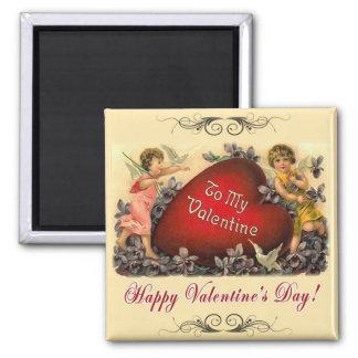 Saludo de la tarjeta del día de San Valentín Imán Cuadrado