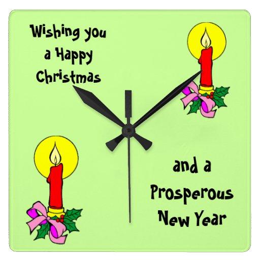 Saludo de la vela del navidad reloj cuadrado