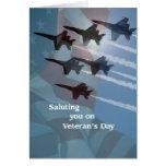 Saludo de los ángeles azules del día de veterano tarjeton