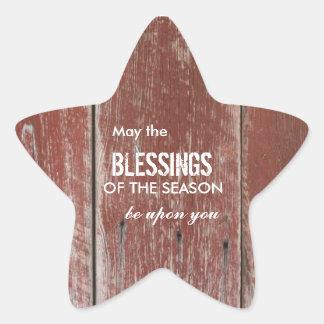 Saludo de madera del día de fiesta del granero pegatina en forma de estrella