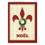 Saludo de Noel de la guirnalda de la flor de lis Tarjeta De Felicitación