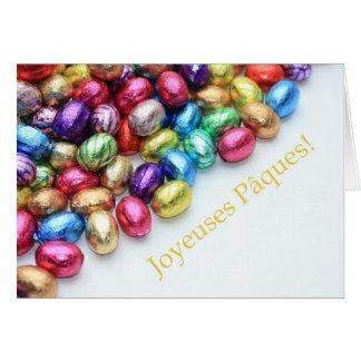 saludo de pascua del francés de los huevos de choc tarjeta de felicitación