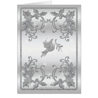 Saludo de plata del acebo y de la paloma tarjeta de felicitación