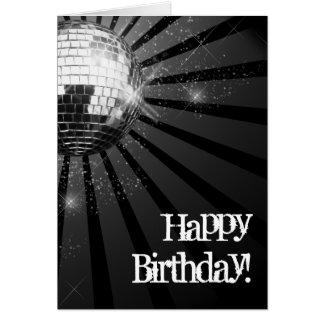 Saludo de plata del feliz cumpleaños de la bola de tarjeta pequeña