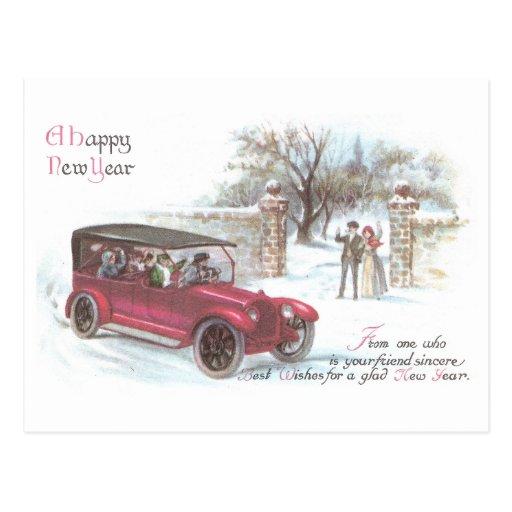 Saludo del Año Nuevo del automóvil del vintage Postal