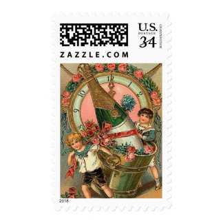 Saludo del Año Nuevo del vintage Timbres Postales