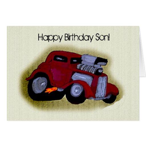 Saludo del coche del hijo del feliz cumpleaños tarjeta de felicitación