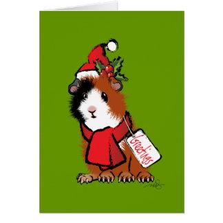 Saludo del conejillo de Indias del navidad Tarjeta De Felicitación