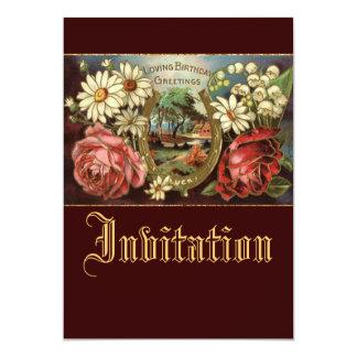 Saludo del cumpleaños con los rosas invitacion personalizada