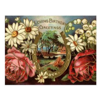 Saludo del cumpleaños con los rosas tarjeta postal