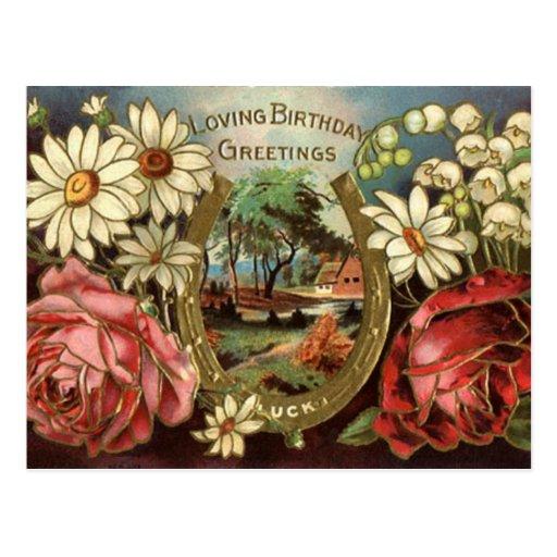 Saludo del cumpleaños con los rosas postales