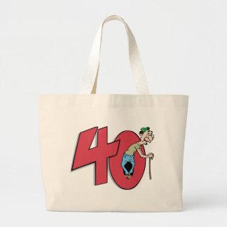 Saludo del cumpleaños de cuarenta - 40 años bolsa tela grande