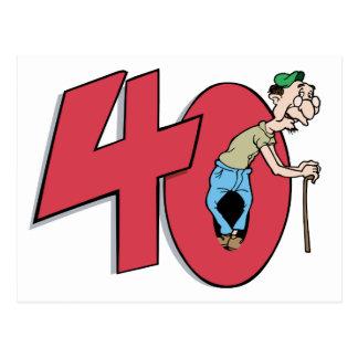 Saludo del cumpleaños de cuarenta - 40 años postal