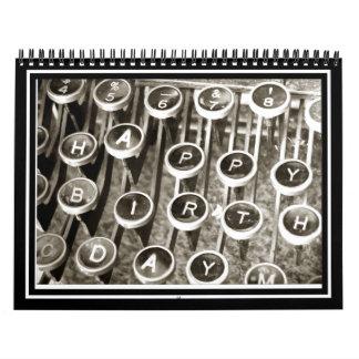 Saludo del cumpleaños de la máquina de escribir calendarios de pared