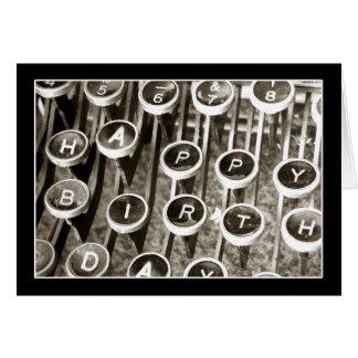 Saludo del cumpleaños de la máquina de escribir tarjeta de felicitación