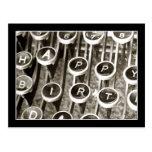 Saludo del cumpleaños de la máquina de escribir postal