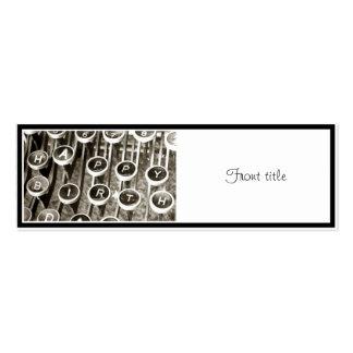 Saludo del cumpleaños de la máquina de escribir tarjetas de visita mini