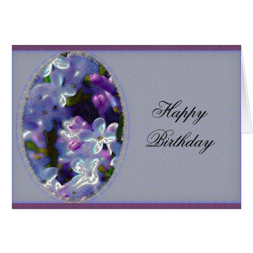 Saludo del cumpleaños de las lilas tarjeta de felicitación