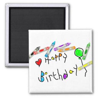 Saludo del cumpleaños del creyón imán cuadrado