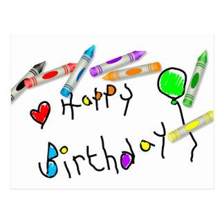 Saludo del cumpleaños del creyón postales