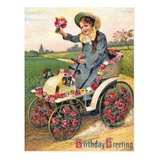 Saludo del cumpleaños del vintage postal
