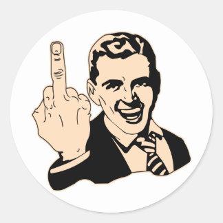 Saludo del dedo medio retro pegatina redonda