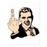 Saludo del dedo medio retro tarjetas postales