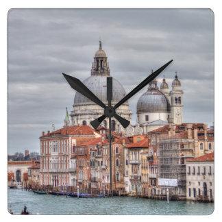 Saludo del della de Santa María, Venecia Italia Reloj Cuadrado