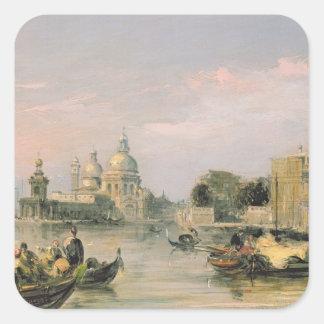 Saludo del della de Santa María, Venecia, siglo Pegatina Cuadrada