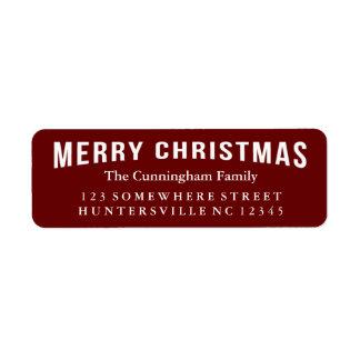 Saludo del día de fiesta de las Felices Navidad Etiqueta De Remitente
