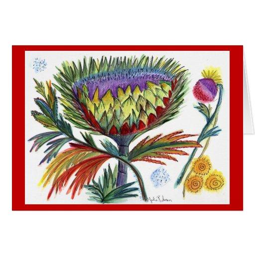 Saludo del día de fiesta del cardo tarjeta de felicitación