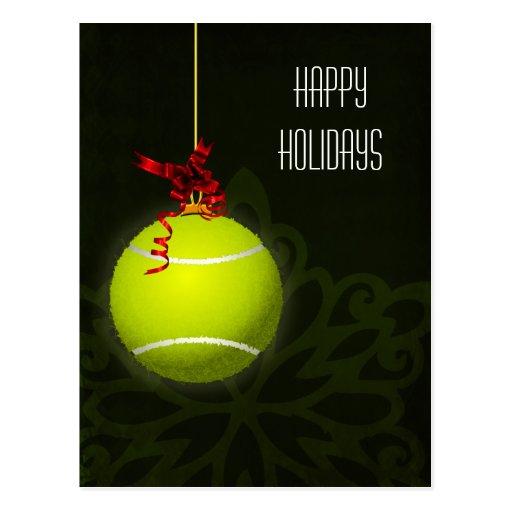 saludo del día de fiesta del jugador de tenis tarjetas postales