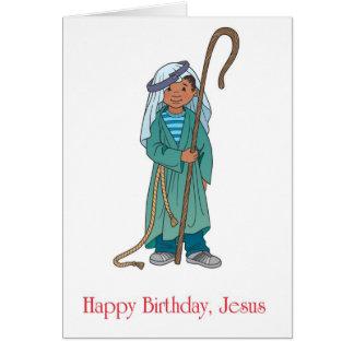 Saludo del día de fiesta del muchacho del pastor d tarjeta de felicitación