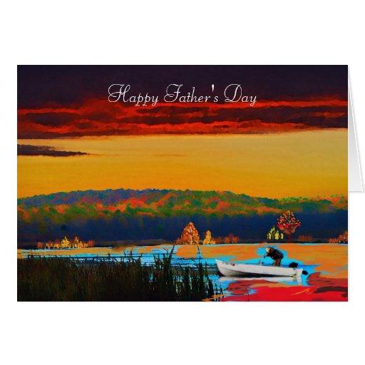 Saludo del día de padre pesquero ido tarjeta de felicitación
