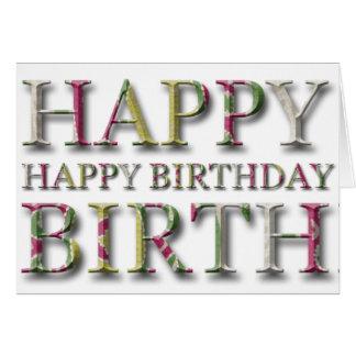 Saludo del feliz cumpleaños con las letras en tarjeta de felicitación