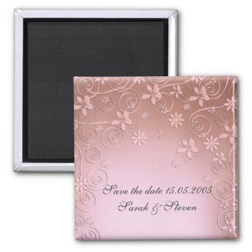Saludo del imán floral rosado de la fecha de la re