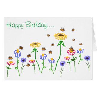 Saludo del jardín de la abeja del feliz cumpleaños tarjeta de felicitación