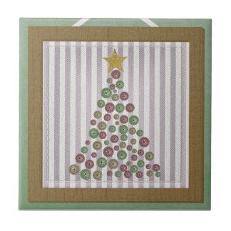Saludo del marco del árbol de botón del navidad de azulejo cuadrado pequeño