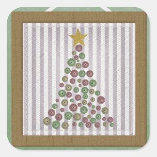 Saludo del marco del árbol de botón del navidad pegatina cuadrada