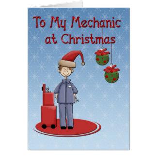 Saludo del mecánico del navidad tarjeton