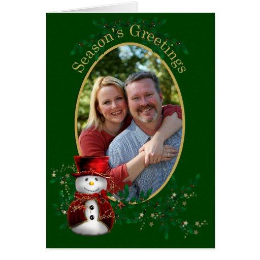 Saludo del muñeco de nieve del navidad de la foto tarjeta de felicitación