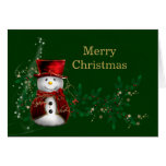 Saludo del muñeco de nieve del navidad felicitación