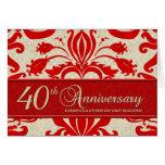 Saludo del negocio del aniversario del rojo 40.o felicitación