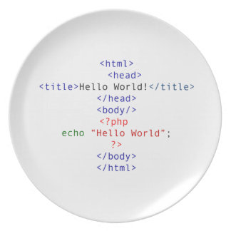 Saludo del PHP del friki Platos De Comidas