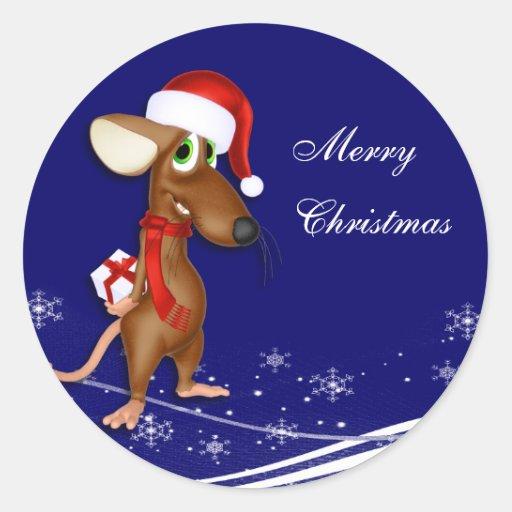 Saludo del ratón del navidad pegatinas redondas