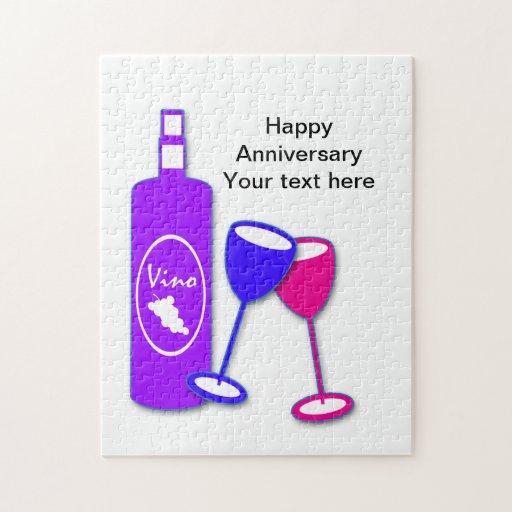 Saludo del tema del vino del recuerdo del rompecab puzzles con fotos