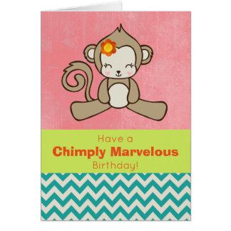 Saludo divertido y lindo del retruécano del mono tarjeta de felicitación