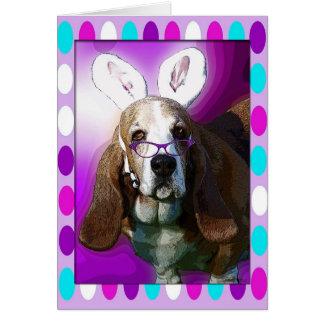 Saludo feliz de Basset Hound Pascua Tarjeta De Felicitación
