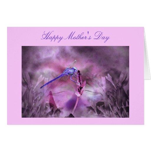 Saludo feliz del día de madre de la libélula tarjetas
