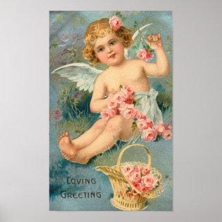 Saludo floral del ángel del vintage poster